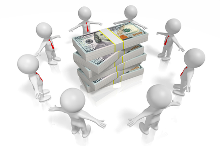 3D US-dollars, teamwork Stock Photo