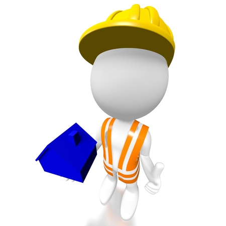 3D worker, house shape