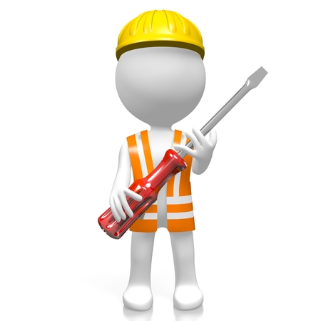 3D worker with screwdriver