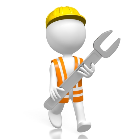 3D worker with wrench Stock Photo