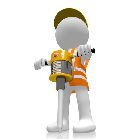 pneumatic: 3D worker, pneumatic drill
