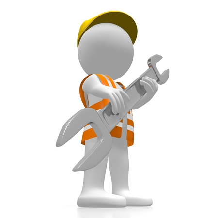 3D worker holding wrench