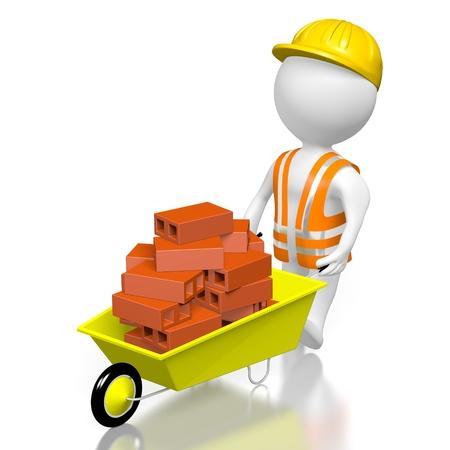 3D construction worker, bricks