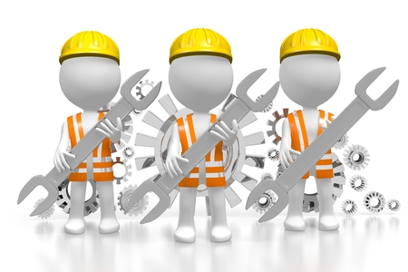 3D construction workers with wrenches