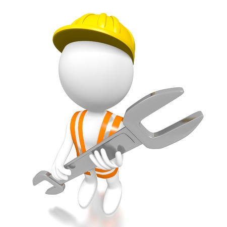 3D construction worker with wrench Stock Photo