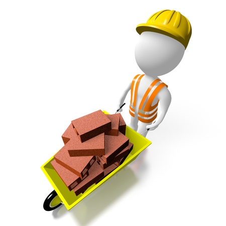 3D construction worker with wheelbarrow