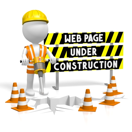 3D webpage under construction Stock Photo