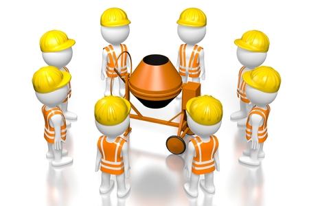 3D workers, wheelbarrow