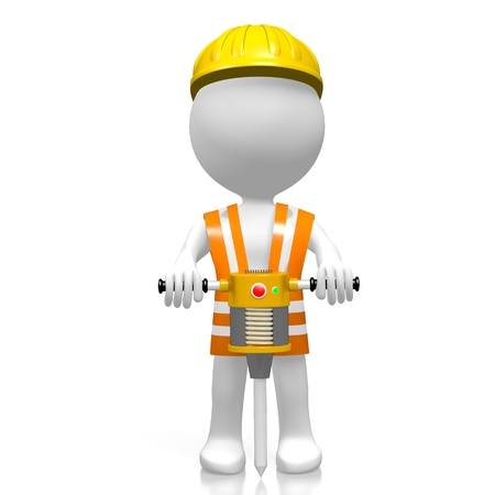 pneumatic: 3D worker with pneumatic drill