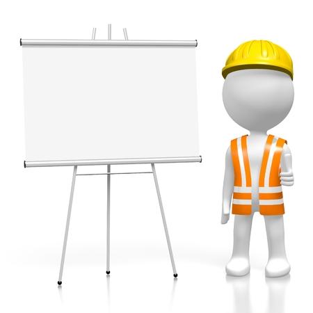 spokesman: 3D construction worker, presentation