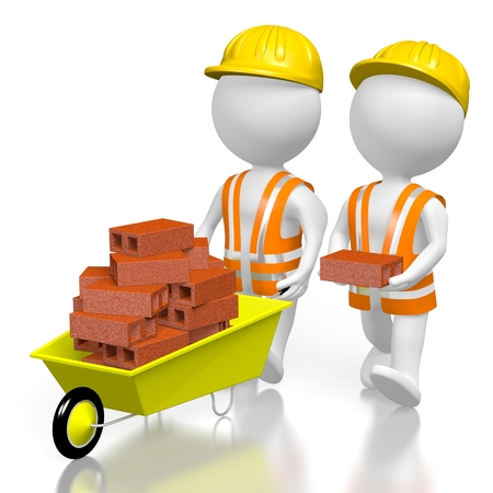 3D construction workers, wheelbarrow Stock Photo - 78369623
