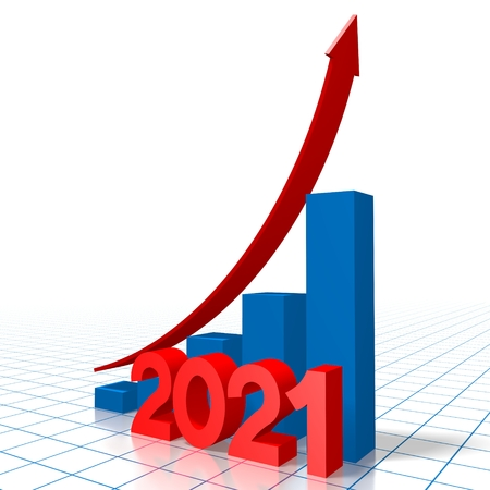3D growth chart - 2021 Stock Photo