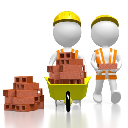 3D construction workers, bricks