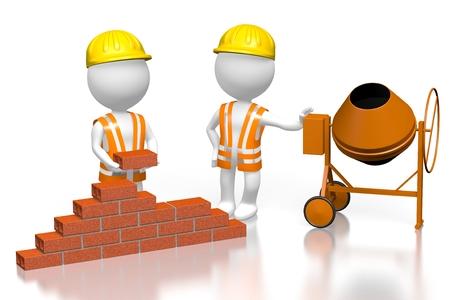 3 D の建設労働者、コンクリート ミキサー 写真素材