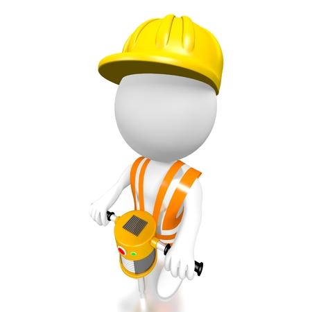 pneumatic: 3D construction worker, pneumatic drill
