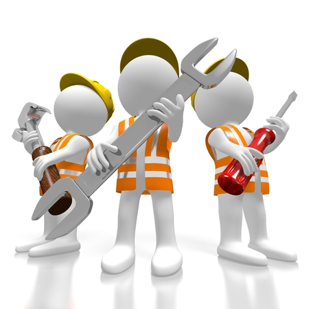 3D construcion workers holding tools Stock Photo