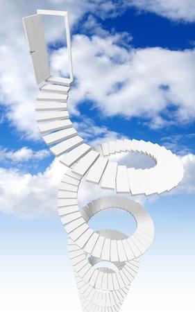 3D stairway to heaven concept
