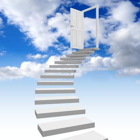 3D trap naar hemel concept