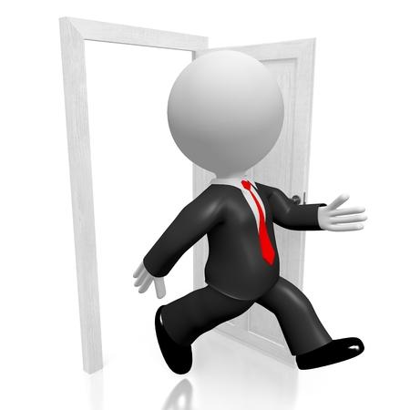 3D businessman, door concept