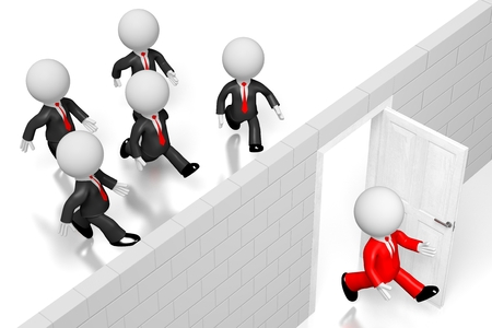 3D outsource concept, businessmen Stock Photo