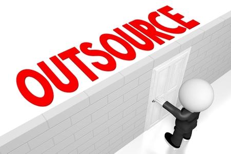 3D outsource concept, businessman