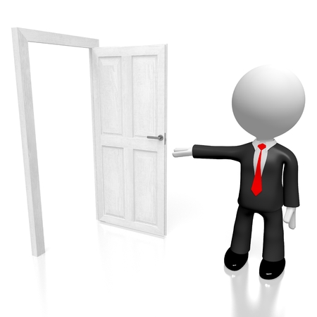 3D open door concept Stock Photo