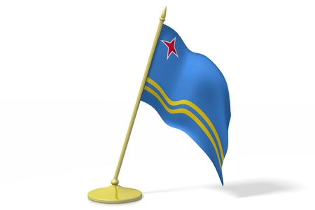 aruba: 3D flag of Aruba