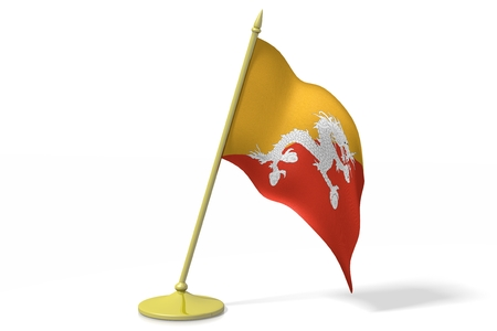 bhutan: 3D flag of Bhutan