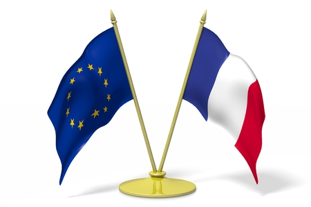 Flag of European Union and France Stock Photo