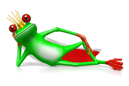 3D cartoon frog with a crown - king concept. Stock Photo