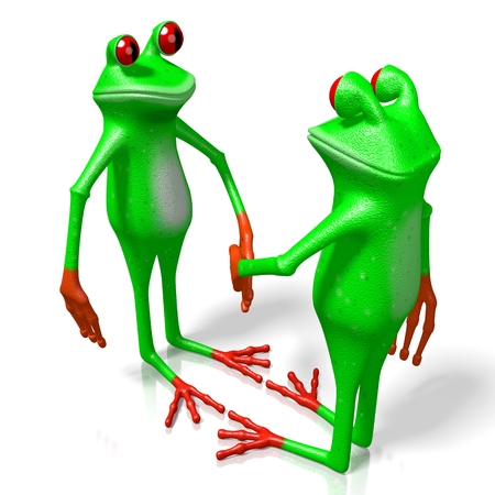 3D cartoon frogs - handshake, agreement concept.