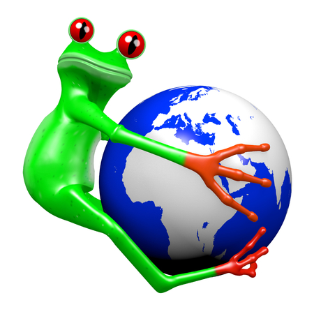 3D cartoon frog and an Earth - great for topics like environment, nature, ecology etc.