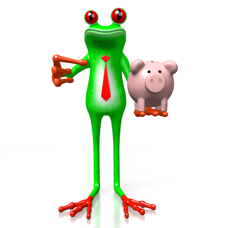3D cartoon frog holding a piggybank - great for topics like savings, money etc.