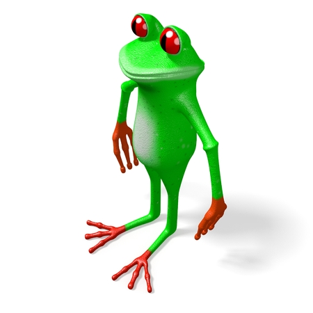 3D cartoon frog on white background.