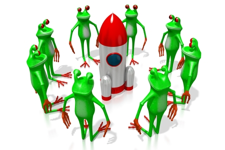 3D cartoon frogs and a rocket - great for topics like cosmos, space exploring being an astronaut etc.