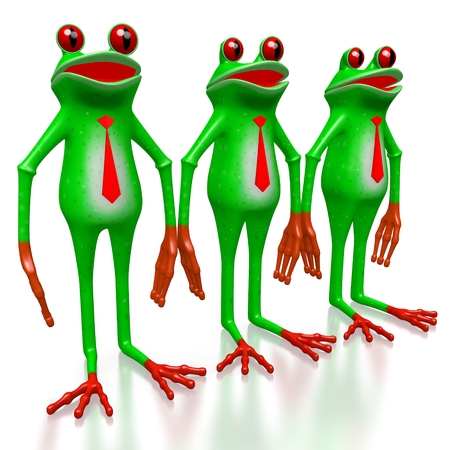 3D cartoon business frogs with ties. Stock Photo
