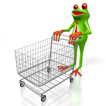 troley: 3D cartoon frog and a shopping cart - great for topics like consumerism, buying products etc.