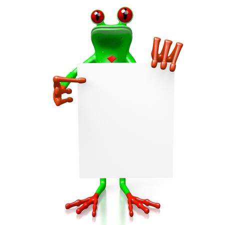 3D cartoon frog - presentation concept. Stock Photo