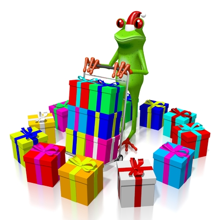 troley: 3D cartoon frog and gift boxes - Christmas concept.