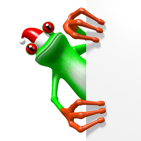 3D cartoon frog behind a corner - Chrismas motive. Stock Photo