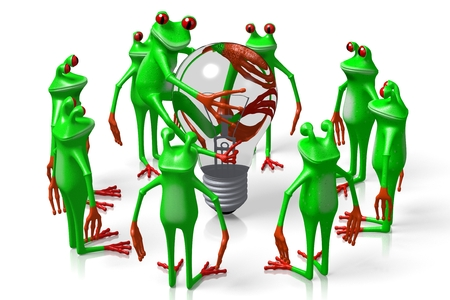 3D cartoon frogs and a lightbulb - great for topics like idea, electricity etc.