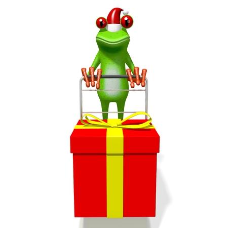 christmas frog: 3D cartoon frog and a gift box - Christmas concept. Stock Photo