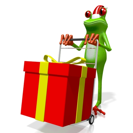 troley: 3D cartoon frog and a gift box - Christmas concept. Stock Photo