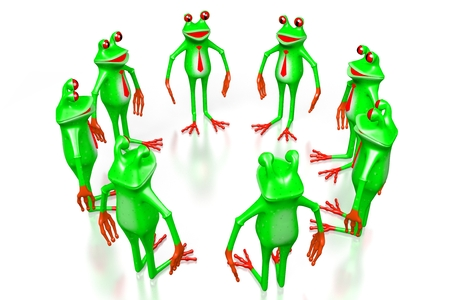 3D cartoon frogs on white background - teamwork concept. Stock Photo