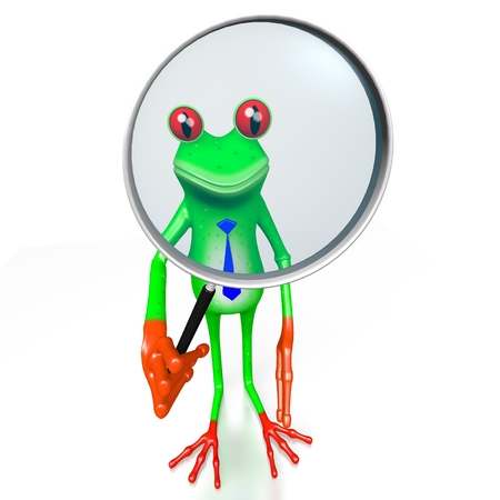 finding: 3D cartoon frog with magnifying glass - great for topics like research, analysis, looking for someting etc.