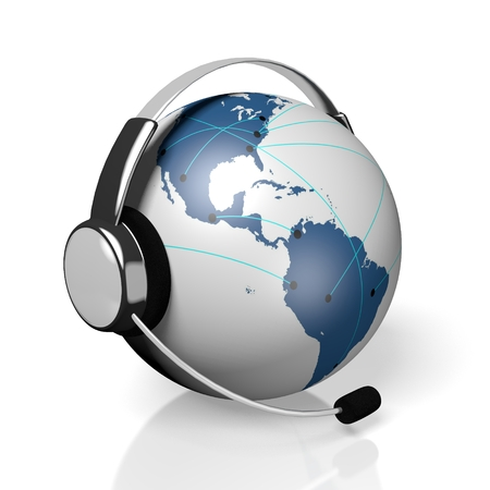 3D global call center - headset and connection concept