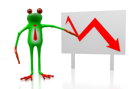 3D frog and chart with downwards arrow - great for topics like recession, slump, crisis etc. Stock Photo