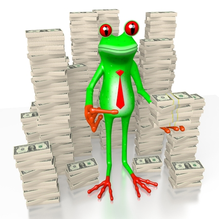 3D cartoon frog and us-dollars - great tor topics like money, finance, being wealthy etc.