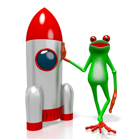 3D cartoon frog and a rocket - great for topics like cosmos, space exploring being an astronaut etc. Stock Photo