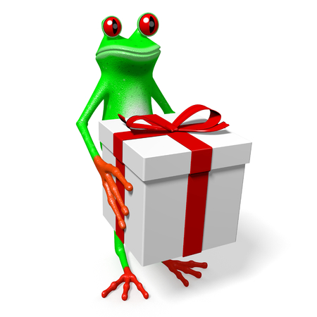 3D frog holding a present